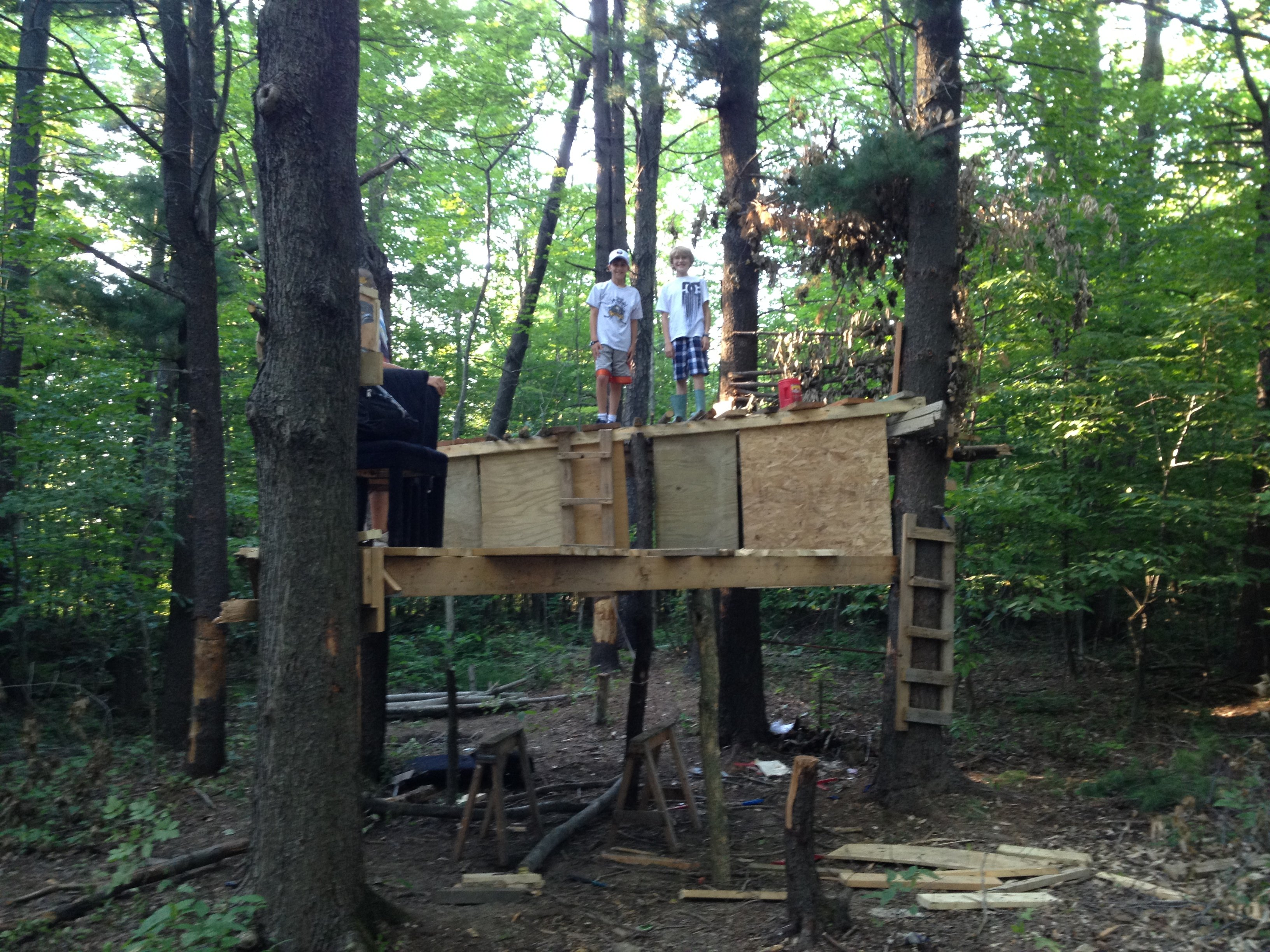 Give a kid some tools a tree fort is born wny handyman for How to build a simple tree fort