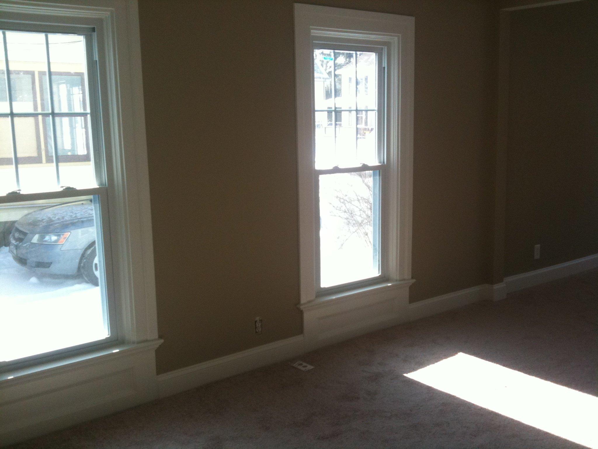 Neutral walls, white trim