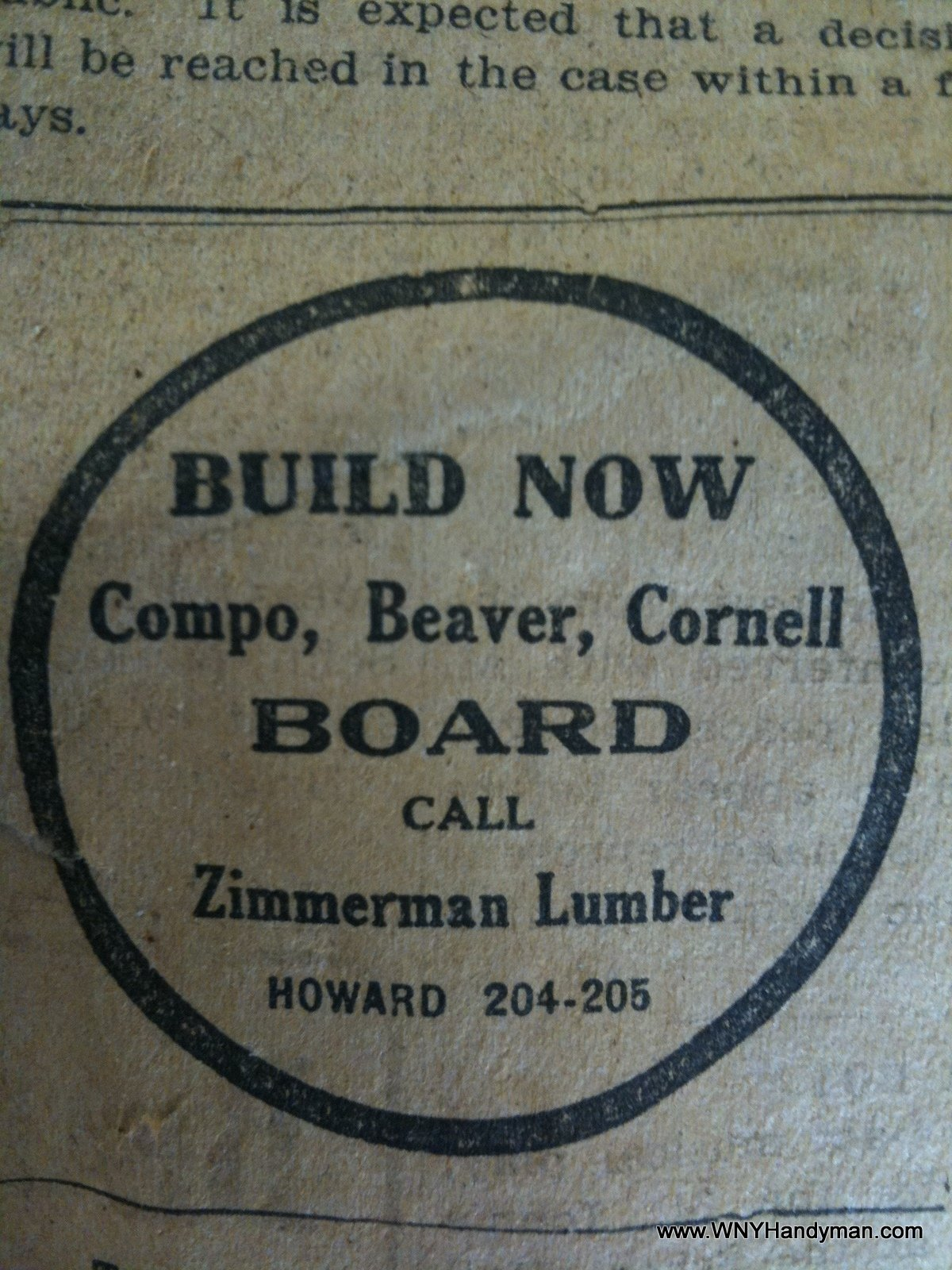 Zimmerman Lumber Ad from 1919