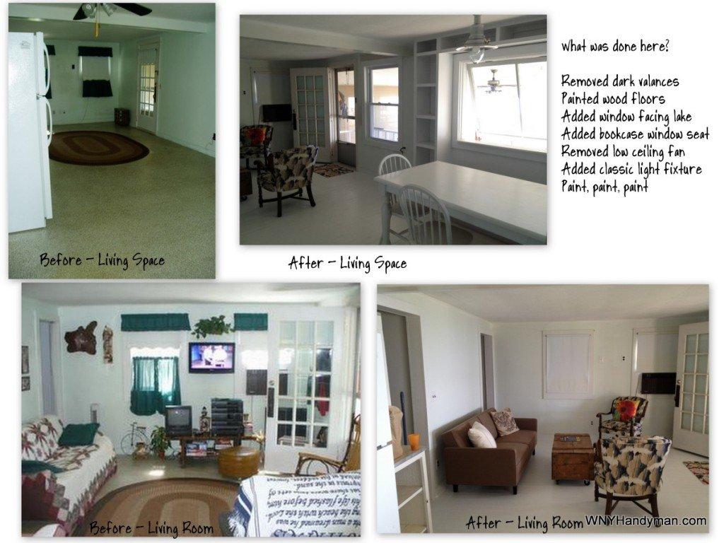 cottage living room before after