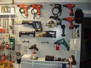 garage power tools pegboard